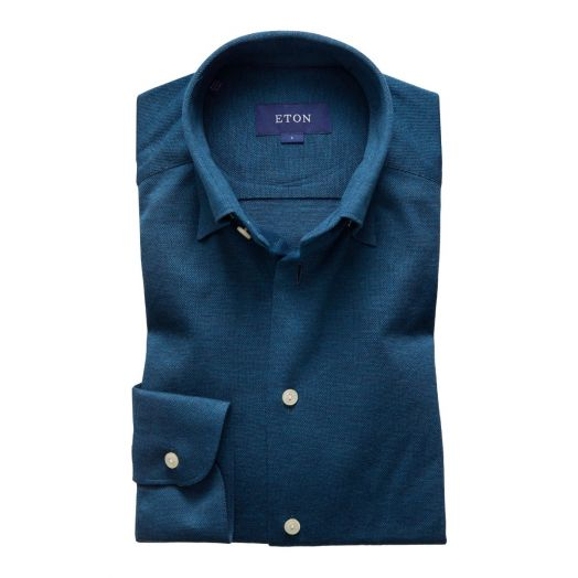 Petrol Blue Slim Fit Piqué Shirt