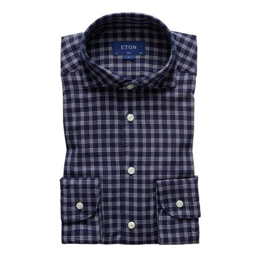 Soft Navy Checked Slim Fit Cotton-Tencel Shirt