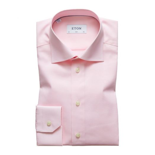Pink & White Fine Stripe Slim Fit Shirt