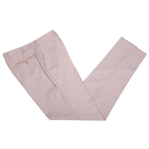 Biscuit Beige Lightweight Merino Wool Formal Trousers