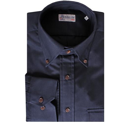 Dark Navy Pure Cotton Long Sleeve Oxford Shirt