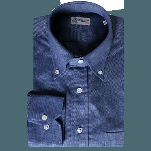 Navy Herringbone Long Sleeve Flanello Cotton Shirt