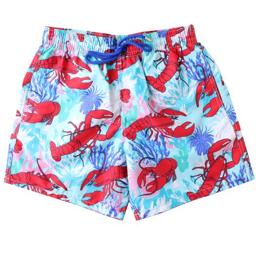 Medicis Red 'Lobsters & Corals' Moorea Swim Shorts