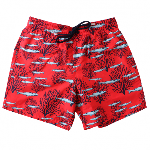 Medicis Red 'Coral & Fish' Moorea Swim Shorts