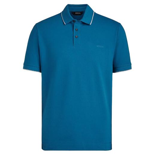 Pacific Blue Stretch Cotton Polo Shirt