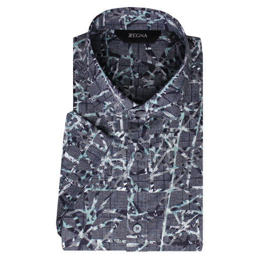 Navy & Teal Pattern Short Sleeve Slim Fit Linen Shirt