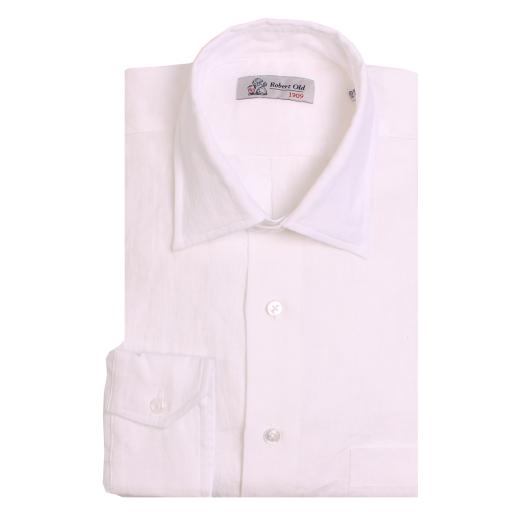 White Irish Linen Long Sleeve Shirt
