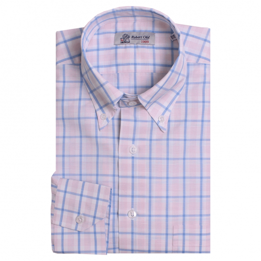 Pink and Blue Check Zephirelino Swiss Cotton Shirt