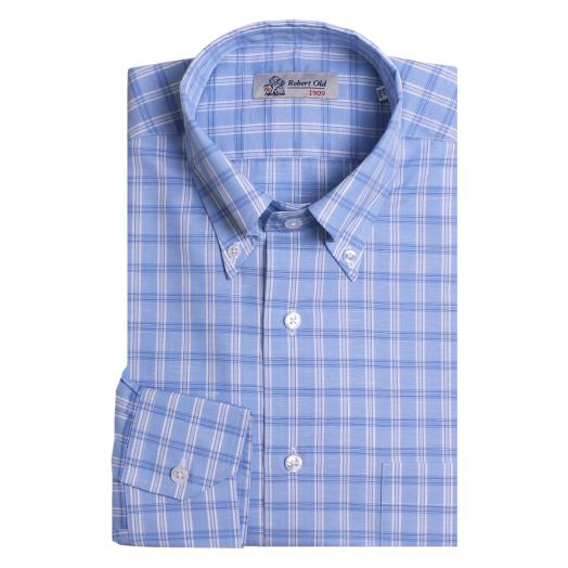 White and Blue Check Zephirelino Swiss Cotton Shirt