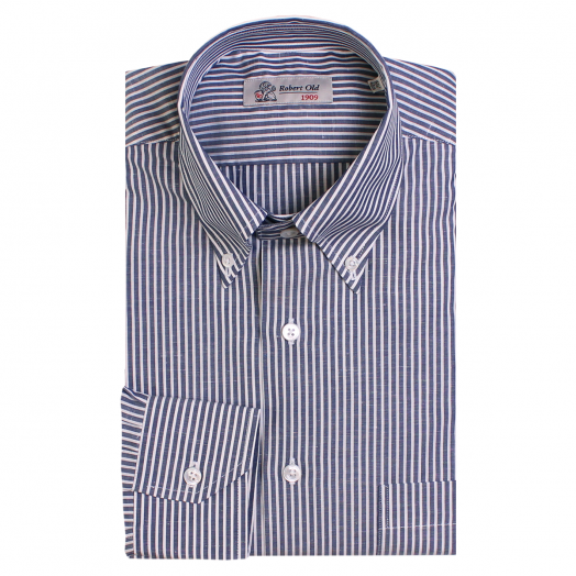 Navy Stripe Zephirelino Swiss Cotton Shirt
