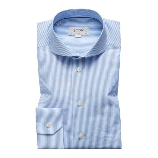 Blue Stripe Cotton & Linen Blend Slim Fit Shirt