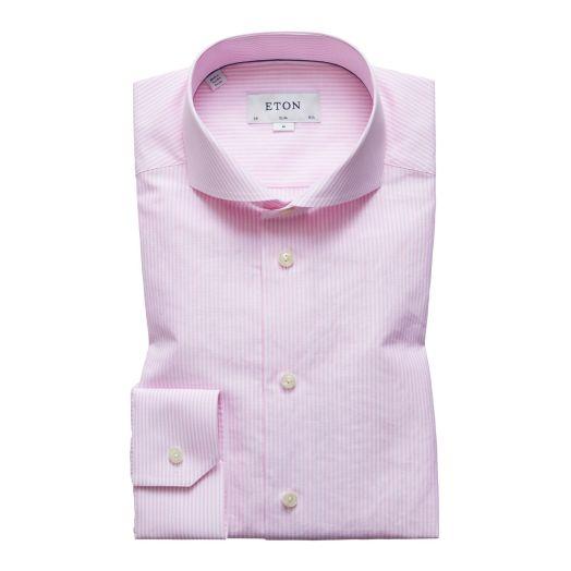 Pink Stripe Cotton & Linen Blend Slim Fit Shirt