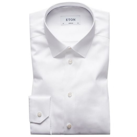 White Solid Twill Super Slim fit Shirt
