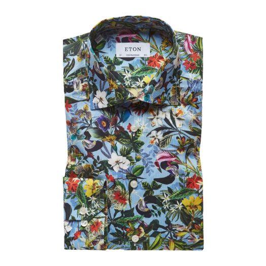 Tropical Flower Print Contemporary Fit Shirt