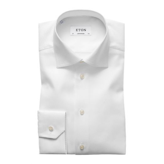 White Textured Twill Contemporary Fit Shirt