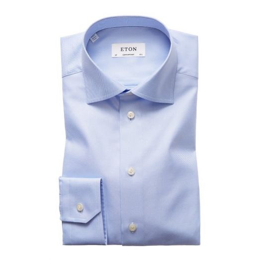 Light Blue Textured Twill Contemporary Fit Shirt