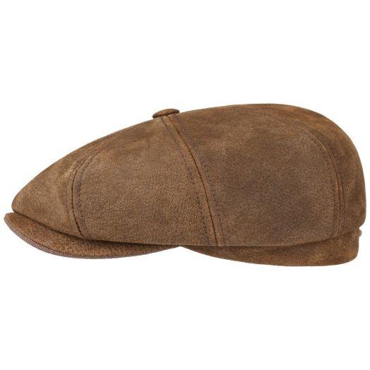 Brown Pigskin Leather Burney Hatteras Flap Cap