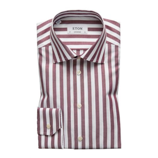 Dark Red & White Stripe Herringbone Contemporary Fit Shirt