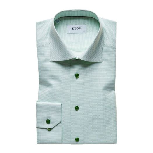 Light Green Micro Weave Contemporary Fit Shirt