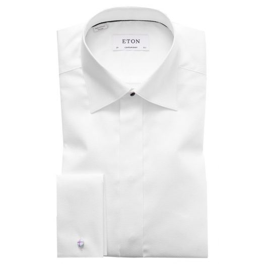 White Dobby Contemporary Fit Evening Shirt