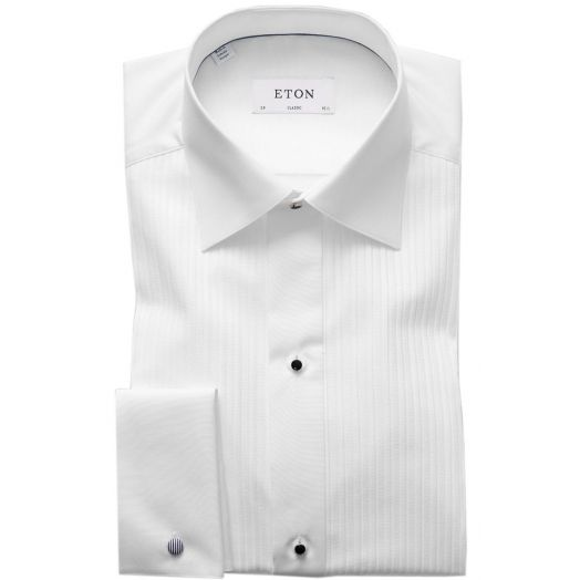 White Plissé Black Tie Classic Fit Shirt