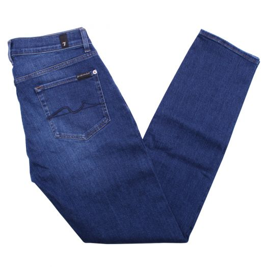 Mid-Blue Stretch Tek Slimmy Tapered Jeans