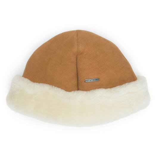 Tan Lamb Fur Beanie Hat