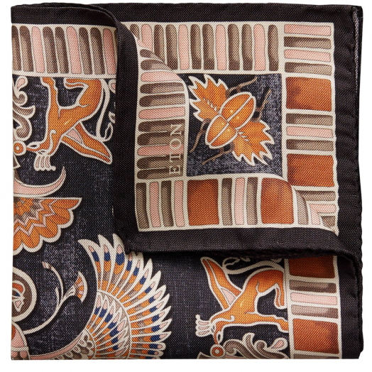 Black Ancient Inspired Silk Pocket Square