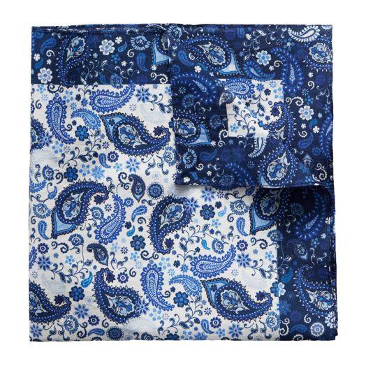 Blue paisley cotton pocket square