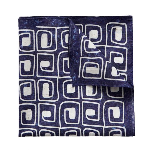 Blue block print pocket square