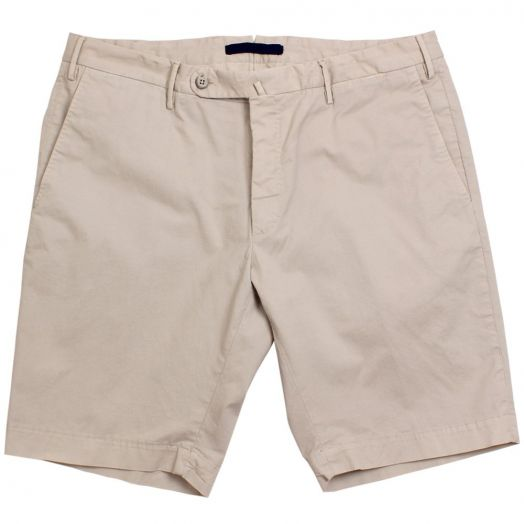 Beige Slim Fit Cotton Chino Shorts