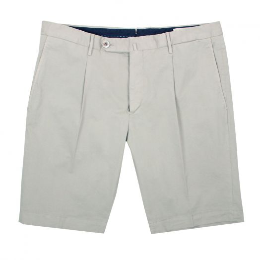 Beige Slim Fit Stretch Cotton Chino Shorts