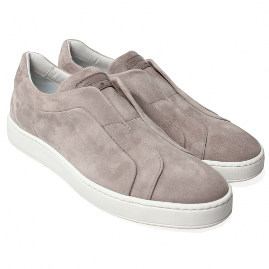 Beige Suede Slip On Sneakers