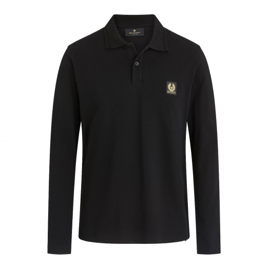 Black Long Sleeve Cotton Pique Polo Shirt