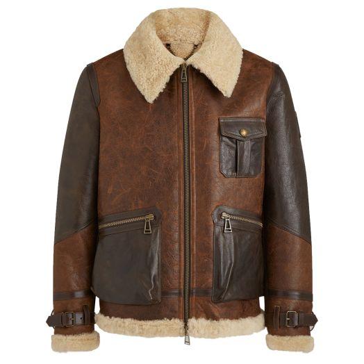 Brown Astell Hand-Waxed Lamb Shearling Jacket