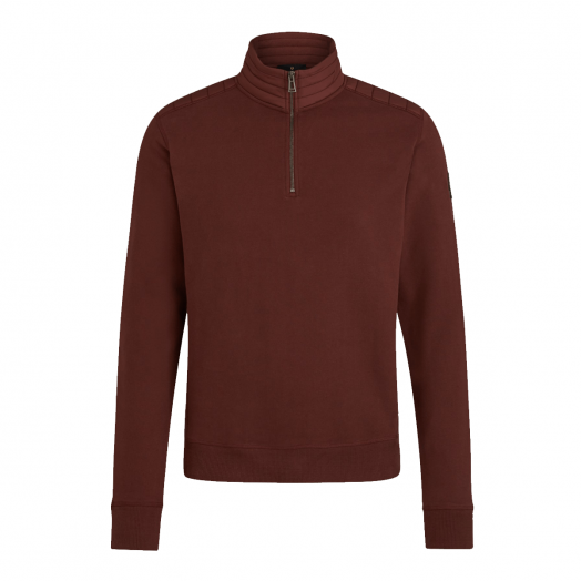 Burnished Red Jaxon Quarter-Zip Cotton Sweater