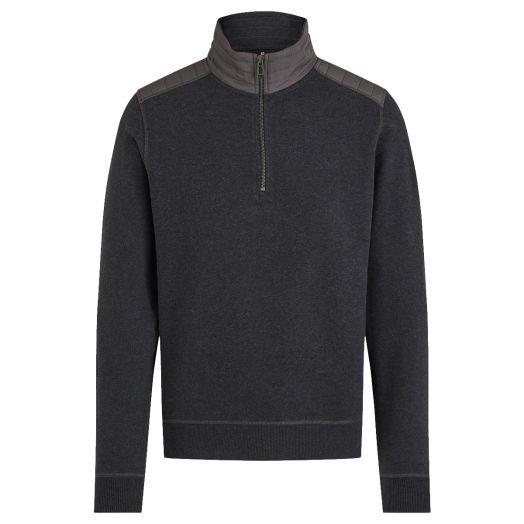 Dark Charcoal Melange Jaxon Quarter Zip Cotton Sweater