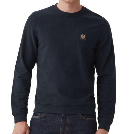 Dark Ink Crewneck Jersey Cotton Sweatshirt
