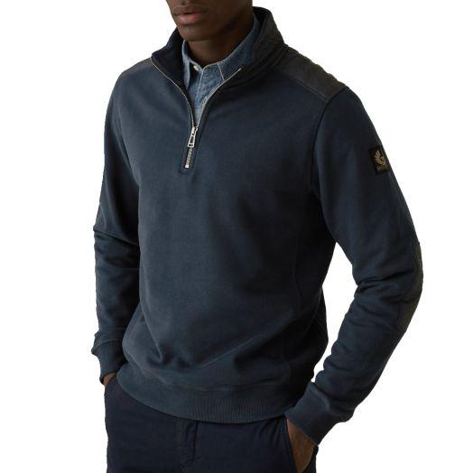 Dark Ink Jaxon Quarter Zip Cotton Sweater