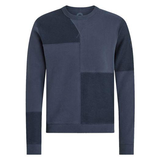 Deep Indigo Patchwork Jersey Cotton Sweatshirt