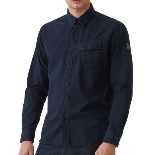 Deep Navy Pitch Cotton Twill Shirt