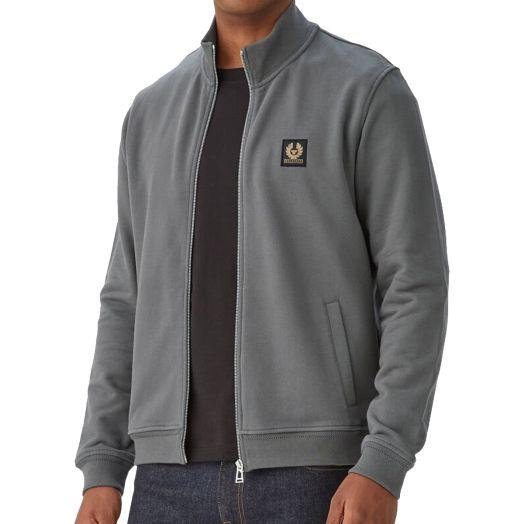 Granite Grey Zip Through Cotton Sweatshirt