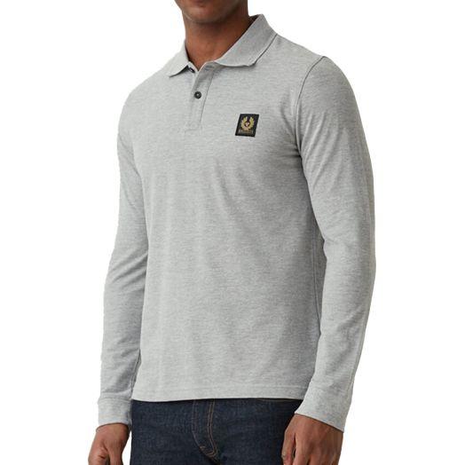 Grey Melange Long Sleeve Cotton Pique Polo Shirt