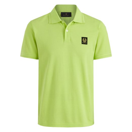 Lime Green Short Sleeved Logo Patch Polo Shirt