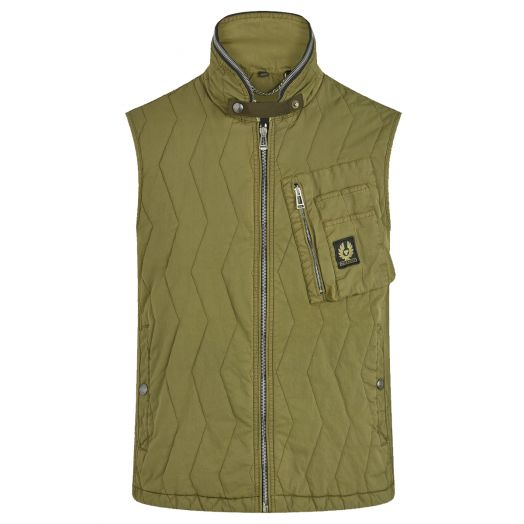 Military Olive Quilted Cargo Gilet Vest