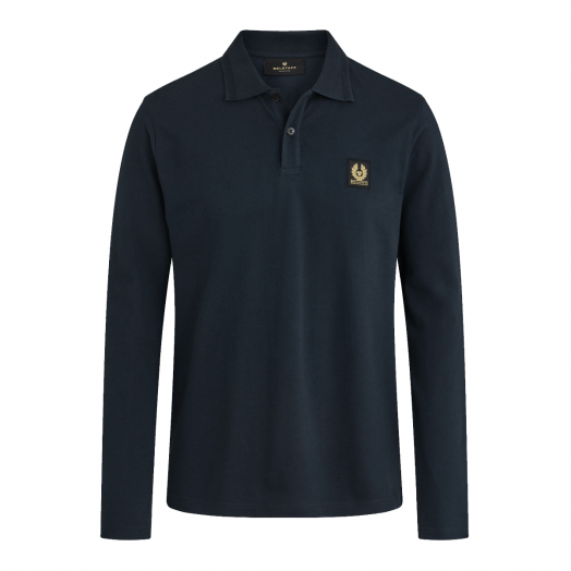 Navy Long Sleeve Cotton Pique Polo Shirt