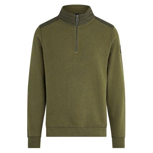 Salvia Melange Jaxon Quarter Zip Cotton Sweater