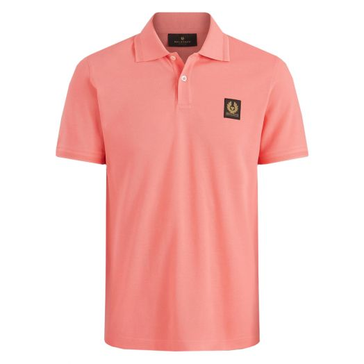 Shell Pink Short Sleeved Logo Patch Polo Shirt