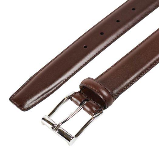Dark Brown Calf Belt with Silver Buckle