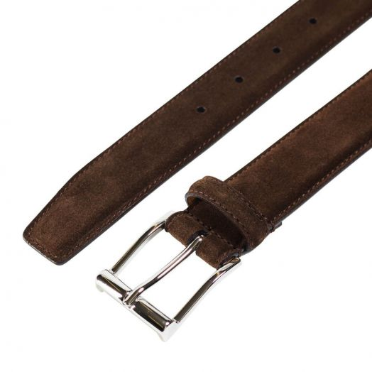 Dark Brown Suede Belt with Silver Buckle